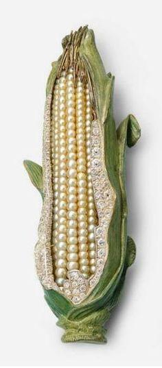 "Brooch | Hemmerle Designs. ""Sweet Corn"". Oriental pearls, diamonds, silver and gold."