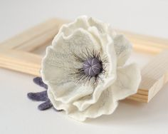 White Flower Brooch Poppy brooch Gift for Mother Flower pins White brooch Handmade poppy jewelry Christmas gift for Her Present for woman