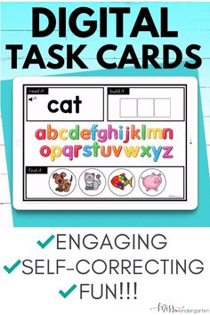 This digital task card bundle is perfect for helping kindergarten students with reading, alphabet, CVC words, counting, 10 frames, addition, subtraction, shapes & measurement. Use it as one of your center activities or for extra practice. It's a greate remote teaching activity but also works well in the classroom. Check out these Boom Cards for kindergarten and first grade students today. Kindergarten Learning, Math Literacy, Teaching Activities, Teaching Reading, E Learning, Cvc Words, Word Families, Word Work, Phonics