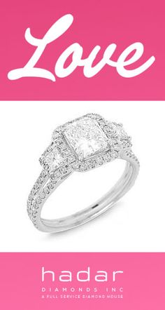 Love by HadarDiamonds.com . Three-stone diamond halo engagement ring.  Ideal for a Valentine's Day Engagement Proposal~