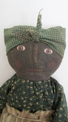 Primitive Black Doll with Bunny and Carrots by Bettesbabies