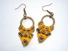 Macrame earrings in orange-brown, micro macrame, summer jewelry