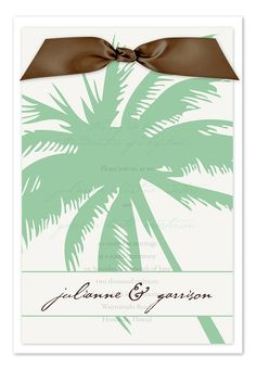this could be really pretty too ... you can customize the ribbon to match your eventual colors :) Sheer Palm - Wedding Invitations by Invitation Consultants. (Item # IC-RLP-SH-40 )