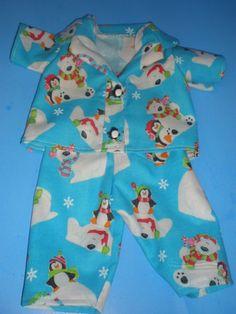 CLOTHES AMERICAN GIRL / BITTY BABY BLUE  PENGUIN/ POLAR BEAR  CHRISTMAS PJ'S