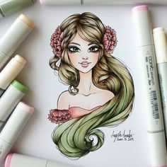 Fashion Illustration Marker Copic Hair Colors Ideas For 2019 Copic Marker Art, Copic Art, Copic Sketch, Copic Markers, Alcohol Markers, Diy Art, Copic Drawings, Colored Pencil Techniques, Art Folder