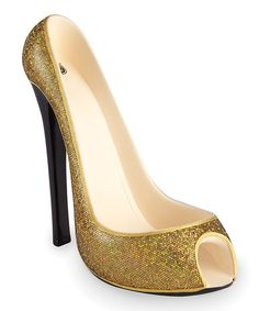 Take a look at this Gold Glitter High Heel Wine Bottle Holder by Wild Eye Designs on #zulily today!