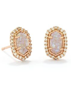 Rose Gold Oval Stud Earrings Distinguished By Drusy Stones And Baguette Details From Our Bridal Jewelry Collection Complement Your Wedding Set