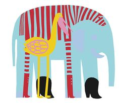 Marimekko Karkuteillä Blue Fabric (via Paper Sparrow) #marimekko #karkuteilla #elephant #bird #blue