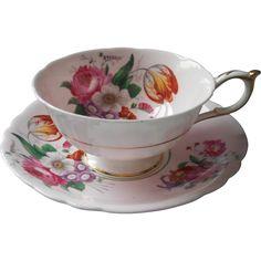 Paragon Pink Posies Cup Saucer Vintage Platinum Trim Saucer Gold Trim from mercymaude on Ruby Lane