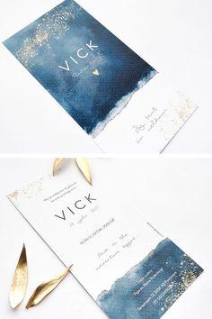 Papeterie d& céleste, bleu et or invitationcarddesign Watercolor Wedding Invitations, Wedding Invitation Design, Wedding Stationary, Mises En Page Design Graphique, Dream Wedding, Wedding Day, Name Cards, Card Tags, Graphic Design Inspiration