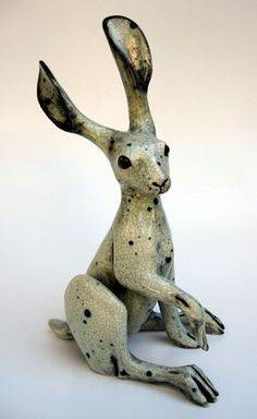 Sue Masters Ceramics: Upright Hare Underglaze, Wiped Celadon Speckle crackle…