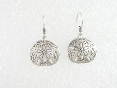 EARRINGS, STERLING, Handmade,1 1/4 in. Long, 3/4 in. Solid Sterling Silver Sand Dollar Disks,Cast, Suspended on Sterling Silver French Wires by McWilliamsBopArt on Etsy