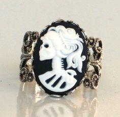 Steampunk Style Cameo Ring  SKELETON LADY  by GlazedBlackCherry, $22.99