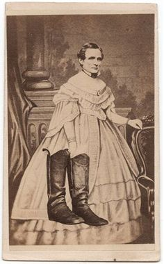 """ca. 1865, [carte de visite collage portrait of Jefferson Davis in disguise, as he appeared at the time of his capture""""] via the International Center of Photography, President in Petticoats! Civil War Propaganda in Photographs"""" Exhibit"""
