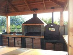 Now that a frigging backyard grill Outdoor Kitchen Patio, Outdoor Kitchen Design, Outdoor Living, Backyard Projects, Outdoor Projects, Barbecue, Parrilla Exterior, Bbq Shed, Brick Bbq