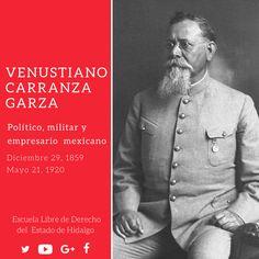 #UnDíaComoHoy pero de 1859, nació en Cuatro Ciénegas Coahuila, Venustiano Carranza Garza, fue un político, militar y empresario mexicano que participó en la segunda etapa de la Revolución mexicana como jefe del Ejército Constitucionalista. #ConoceTuHistoria #ELDEH #HistoriaDeMéxico