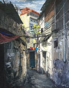 [Illustrations] A Halcyon Hanoi Through Artist Pham Anh's Ultra-Realistic Oil Paintings - Saigoneer Watercolor Artists, Watercolor Paintings, Oil Paintings, Street Photography, Landscape Photography, Chill Photos, Realistic Oil Painting, Impressionist Art, Urban Sketching