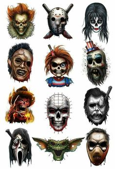 May they all Rest In Pieces…we sliced and diced up your favorite horror characters in this wickedly frightening tattoos series They are sure to bring out a scream in anyone who sees them! Series of 12 Tattoo designs include Captain Chucky Elvi - # Horror Cartoon, Horror Movies Funny, Horror Movie Characters, Scary Movies, Classic Horror Movies, Horror Movie Tattoos, Scary Tattoos, Icp Tattoos, Tattoos Skull