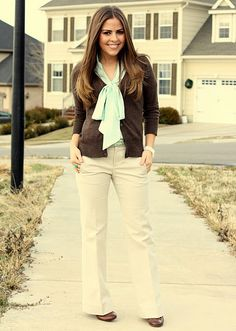 mint bow blouse and chocolate cardigan, light khaki pants