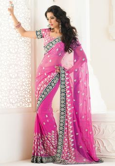 Pink Faux Georgette Saree with Blouse Online Shopping: SGJ119