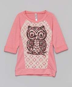Look at this #zulilyfind! Neon Pink Owl Lace Tee by Beautees #zulilyfinds