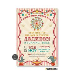 Circus Birthday Invitation, PRINTABLE Circus Tent Invites, Ferris Wheel Invitation, Vintage Carnival Party, Elephant, Come One Come All 367 by 800Canvas on Etsy
