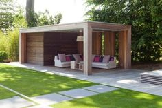 Overdekt terras in tuin - veranda Outdoor Areas, Outdoor Rooms, Outdoor Living, Outdoor Structures, Garden Studio, Garden Buildings, Outside Living, Garden Spaces, Back Gardens