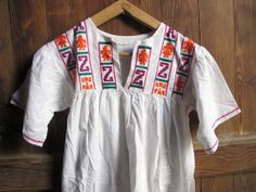 Vintage pretty 70s mini mexican embroidered dress  // festival // aztec // ethnic on Etsy, $45.00