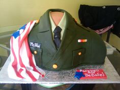 Army Dress Green Uniform - My customer's son was leaving for the army, so this was the design I came up with. I'm really proud of this cake. . . and to be an American. :)
