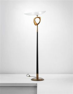 Max Ingrand; Glass, Painted Wood and Brass Standard Lamp for Fontana Arte, c1959.
