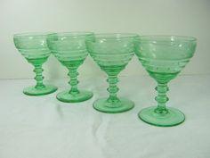 #WineWednesday Vintage GREEN DEPRESSION WINE Goblet Set/4 by LavenderGardenCottag