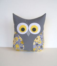 grey owl pillow decorative grey yellow white by whimsysweetwhimsy, $32.00