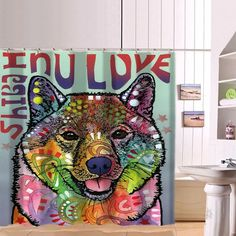 Shiba Inu Series Shower Curtains - Dean Russo Art – Jill 'n Jacks Japanese Dog Breeds, Japanese Dogs, Copper Hangers, Dean Russo, Soaking Wet, Shiba Inu, Shop Window Displays, Heating And Cooling