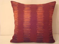 Embroidered orange –  Carmine  Rustic 16x16  throw  pillow