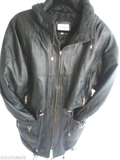 COMINT Black Leather Jacket, Womens Size Medium, with Hood