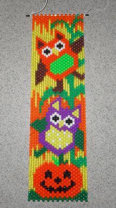 Handmade Halloween Fall Owls Beaded Banner with Nylon Cord