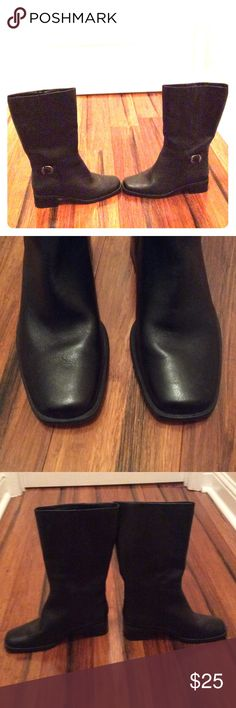 Size 8.5 St. John's Bay Black Leather Boots Black leather buckle boots worn once. Very good quality. Almost brand new. Biker boots. St. John's Bay Shoes Combat & Moto Boots