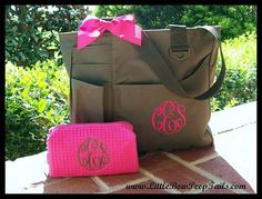 Gift Set of 2 - Monogrammed Super Feature Tote and Small Size Cosmetic Bag - Personalized Waffle Weave bridesmaids teacher mothers day on Etsy, $42.90