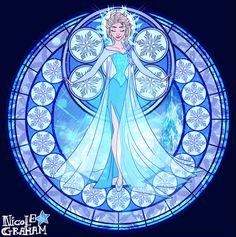 Elsa Kingdom Hearts stained glass. Source: http://jostnic.deviantart.com/art/Elsa-448151912