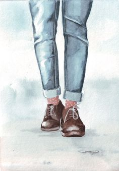 Original watercolor art of Denim clad legs in Oxfords by HelgaMcL, $22.00