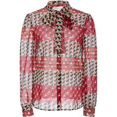 Red Valentino Geometric Fantasy Print Silk Tie Neck Blouse (€685) ❤ liked on Polyvore featuring tops, blouses, neck ties, long sleeve silk blouse, silk button down blouse, red top and silk tie neck blouse