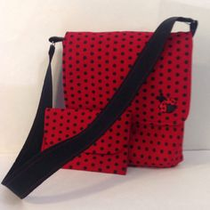 Lady bug cross body messenger bag with small snap pouch/ wallet