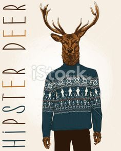 4ac740d9922 Hand Drawn Vector Illustration of Hipster Deer in sweater with people.