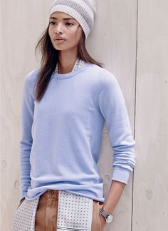 J.Crew women's Collection cashmere long-sleeve tee and stripe beanie.  Not the beanie.  But love the cashmere tee!