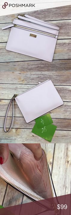 NWT Kate Spade Blush Pink Wristlet Kate Spade New York saffiano leather wristlet and gold toned hardware Front zip pocket Wristlet strap is partially detachable for easy stowing and has a drop of approx. 6.5 inches Lined interior features 4 card slots Approx. dimensions: 7.5 in (L) x 5 in (H) x 0.25 in (W). Brand new! kate spade Bags Clutches & Wristlets