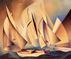 Pertaining to Yachts and Yachting 1922 Charles Sheeler American, 1883 - 1965 Oil on canvas Charles Sheeler, Canvas Art Prints, Oil On Canvas, Large Canvas, Nautical Painting, Blue Painting, Philadelphia Museum Of Art, Artist Canvas, American Art
