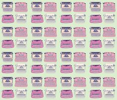Typewriters Pink & Mint - curious_nook - Spoonflower