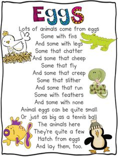 Oviparous animals....poems for fluency