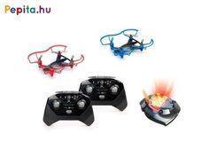 Lepd meg gyermeked ezzel a drónnal amivel megízlelheti a repülés élményét. Gyerkőcöd biztosan élvezni fogja, hogy versenyezhet barátaival vagy családtagokkal ezzel a két verseny drónnal.    Jellemzői:  - A távirányítók 2,4 GHz frekvencián kommunikálnak a drónokkal, három csatornán  - A drónok 3,7 V-os akkumulátorral működnek, a csomagolás az elemeket tartalmazza  - A távirányítók és a dokkoló 3-3-3 darab AA ceruzaelemmel működik, a csomagolás az elemeket nem tartalmazza  - A drónok méretei… Korn, Vehicles, Vehicle, Tools