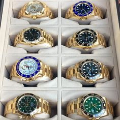 Box of Yellow Gold Rolex Watches Which is your favorite? Rolex Watches For Men, Vintage Watches For Men, Luxury Watches For Men, Sport Watches, Cool Watches, Watches For Men Affordable, Stylish Watches, Casual Watches, Wrist Watches